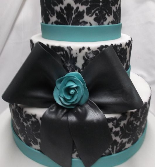 gâteau Damask noir et turquoise / Damask black and turquoise