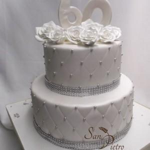 60e anniversaire à deux étages gâteau diamant / two tier 60th anniversary Diamond cake
