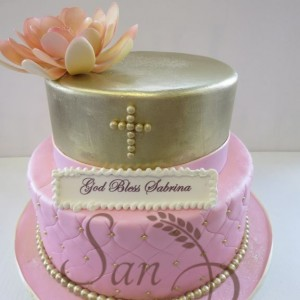 Two Tier Baptsim Cake for Sabrina