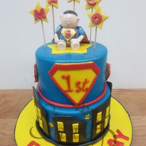 1st Birthday Superhero Cake
