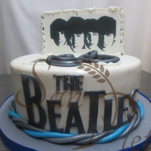 One Tier Beatles Cake