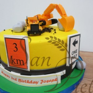 One Tier Construction Cake