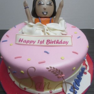 One Tier Dora Theme Cake