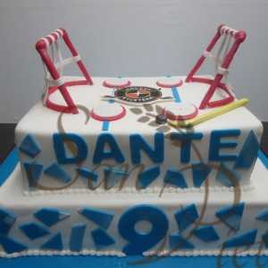Two Tier Hockey Theme Cake