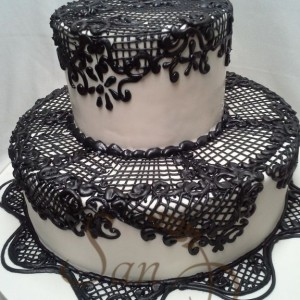 Engagement Black and White Lace Cake