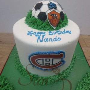 Soccer and Hockey Duo Cake