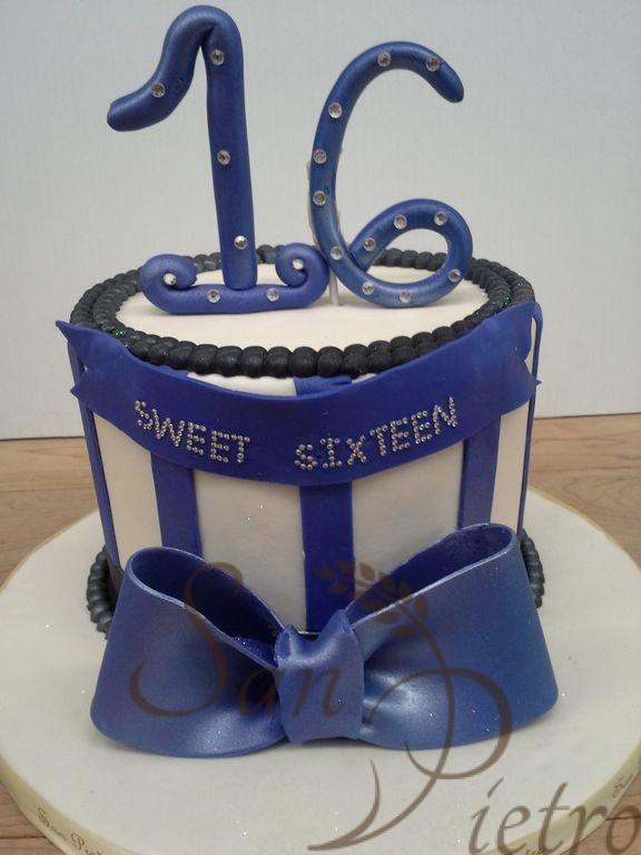 One Tier Diamond Black And Blue Cake Carol Sweet 16