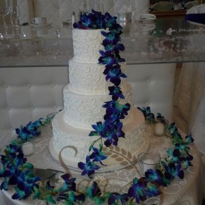 Buttercream Finish Blue Orchids Cake