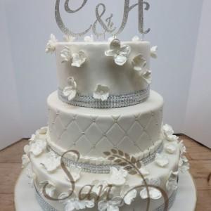 Wedding Hydrangea Diamond Cake