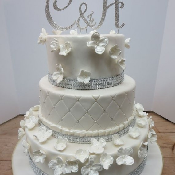 Wedding Hydrangea Diamond Cake