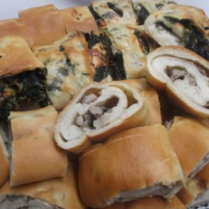 Spinach and Sausage Stuffed bread rolls platter