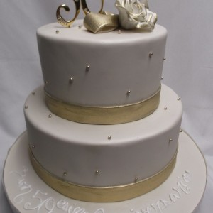 Anniversary Three Tier Deux Etage Or Perles Two Pearl Gold 50th