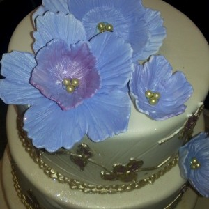 Gold and Blue Flower wedding Cake