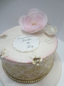 Gold and blush damask